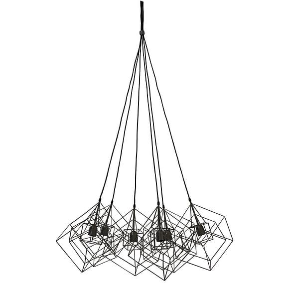 Hanglamp KUBINKA - mat zwart - 6-lichtpunten