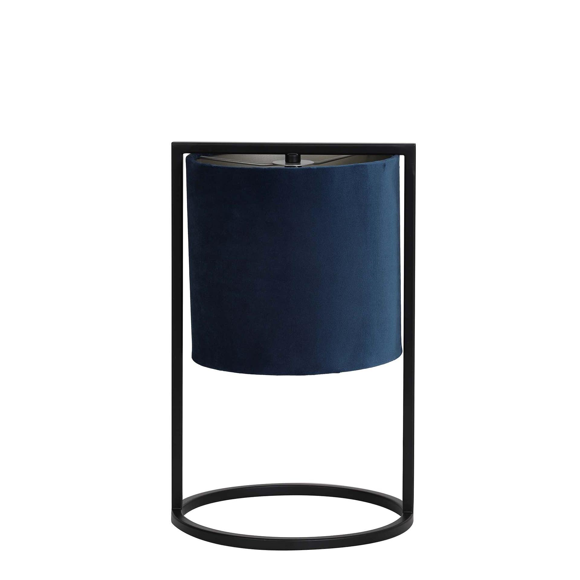 Tafellamp Ø22x35 cm SANTOS mat zwart+kap petrol blauw ...