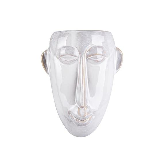 Wit Muur plantenpot Mask - Glazuur Wit - Lang - 17