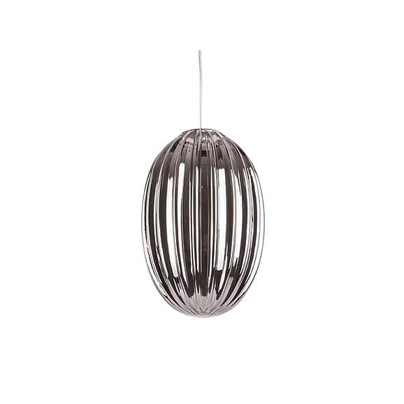 Grijs Hanglamp Smart - Ovaal Glas Smokey Grijs - 20x30cm