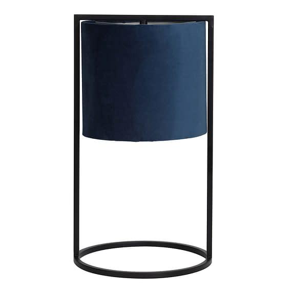 Tafellamp Ø25x45 cm SANTOS mat zwart+kap petrol blauw