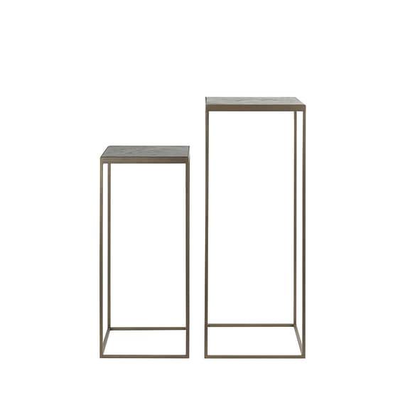 Light & Living - Zuil Chisa - Hout Zwart/Antiek Brons - 33x33x80 + 38x38x100 cm
