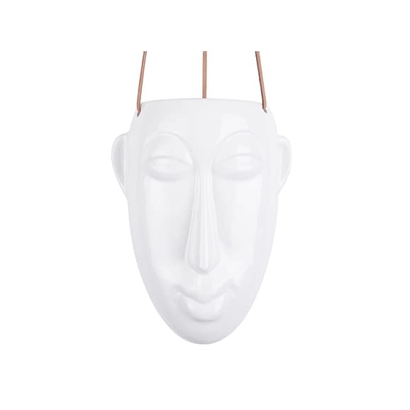 Wit Hangende plantenpot Mask - Glazuur Wit - Lang - 12