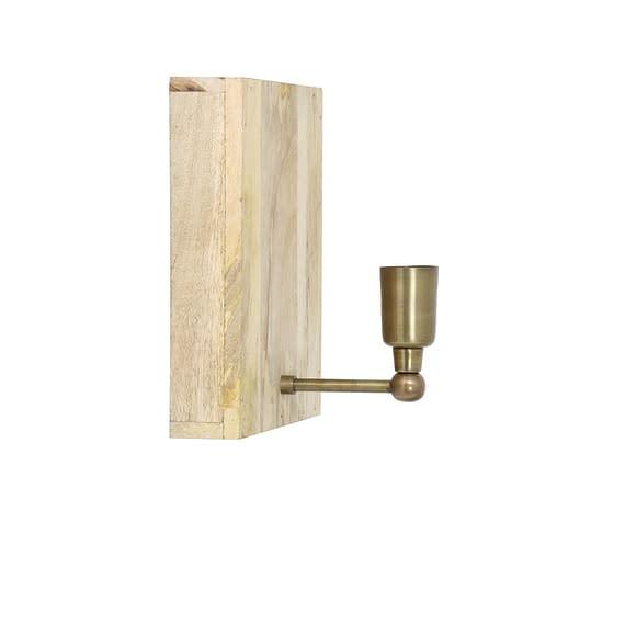 Wandlamp Buxton - Hout/Antiek Brons - 25x25x17 cm