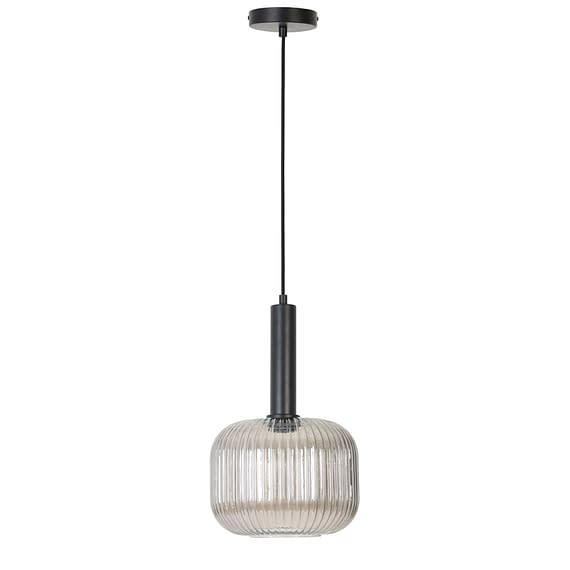 Hanglamp Linnea - Mat Zwart/Smoke Glas - Ø25x46