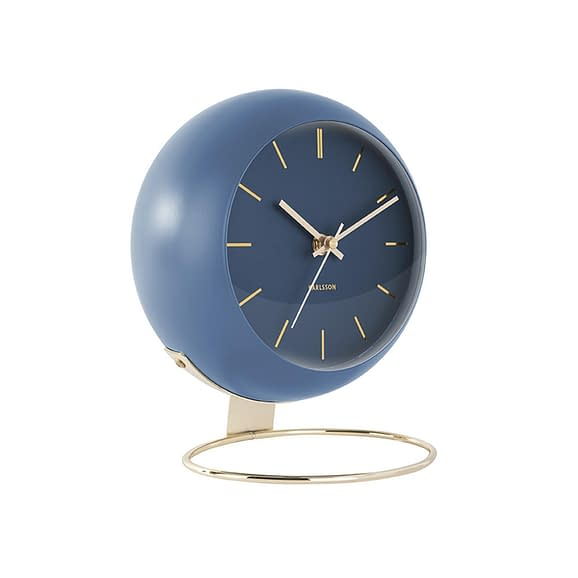 Blauw Tafelklok Globe - Donkerblauw - 21x24