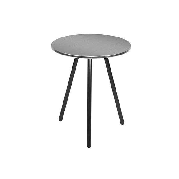Grijs Side table Disc - Staal Geborsteld Nikkel