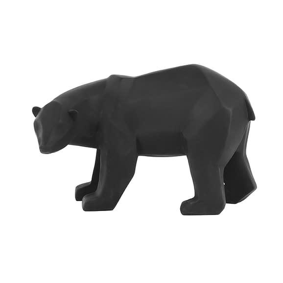 Zwart Ornament Origami Bear - Polyresin Mat Zwart - Large - 28