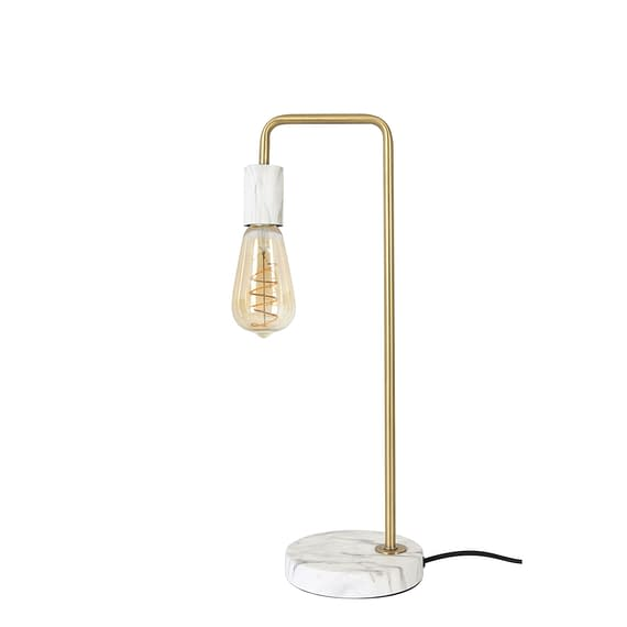 Tafellamp Tomasso - Brons/Wit Marmer - 19x15x50 cm - Incl. Lichtbron