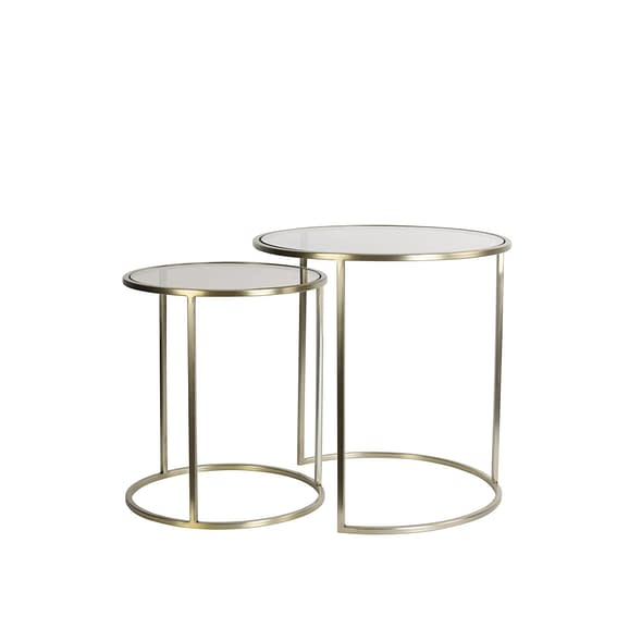 Bijzettafel Duarte - Glas Bruin/Licht Goud - Ø50+Ø40 cm
