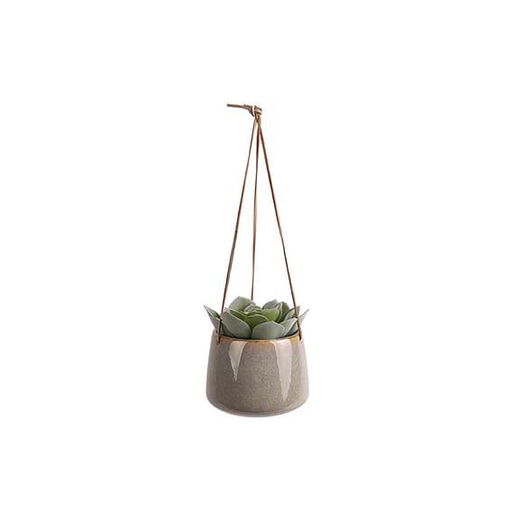 Grijs Hangende plantenpot Unique - Glazuur Grijs - Large - 17x13