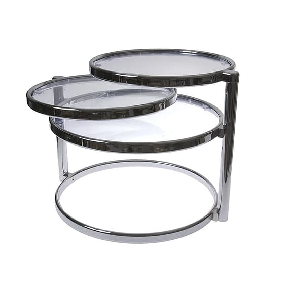Leitmotiv - Table double swivel glass w steel chrome