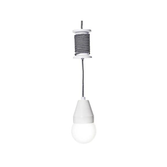 Zwart Hanglamp Spool - Zwart met witte kabel - 10cm