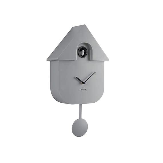 Grijs Wandklok Modern Cuckoo - Muisgrijs - 40x9x23cm