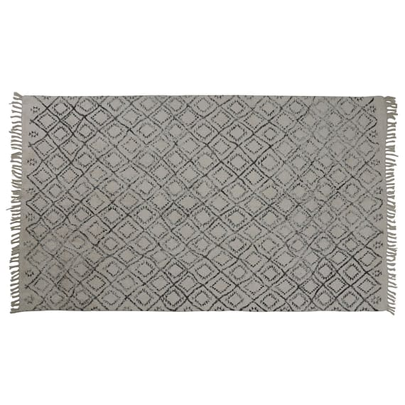 Vloerkleed 230x160 cm BOYAKA zwart-wit ruitprint