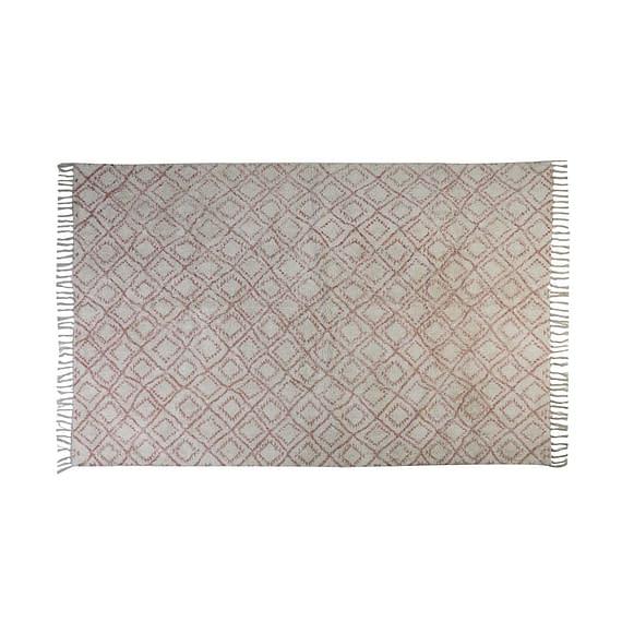 Vloerkleed 230x160 cm BOYAKA oud roze-wit ruitprint