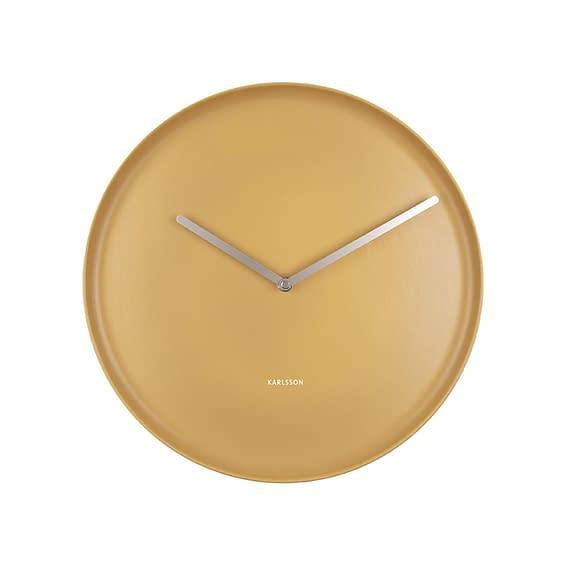 Geel Wandklok Plate - Porselein Okergeel - Ø35cm
