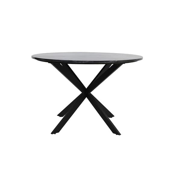 Light & Living - Ronde Eettafel Tomochi - Marmer Zwart/Zwart - Ø120x78 cm